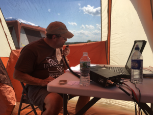 Joe, KD2FWG, gets some early contacts in the ARRL Filed Day log!